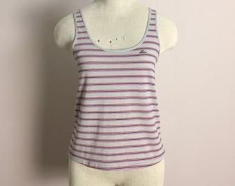 80 s minuscule débardeur par Jordache - gris et rose à rayures chemise d'été - New Wave Punk Trash plage piscine sans manches petit rouleau Disco