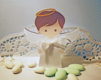 Containing sweets for baptism or communion boy Angel