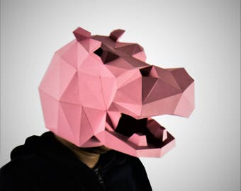Hippo Mask, Hippo Head,Animal Head, Animal Mask , papercraft,DIY New Year Mask, 3D Polygon Masks, Halloween Mask