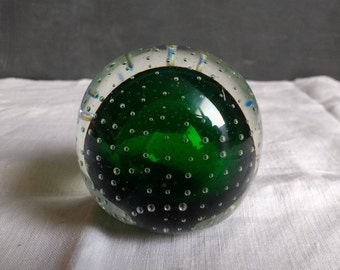 Green  Blown Glass  Paperweight Antique paperweight with blown glass bubbles and green interior