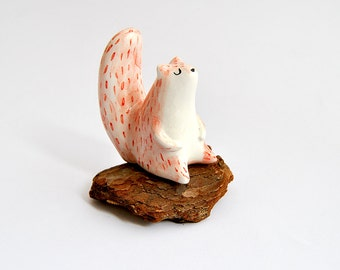 Ceramic Squirrel Miniature in White Clay and Decorated with Pigments in Red and Black. Ready To Ship