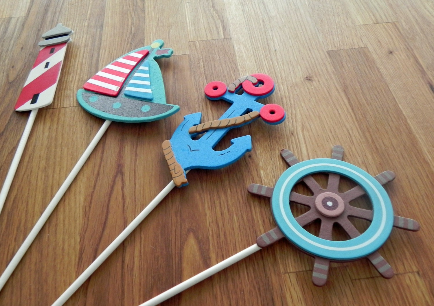 Nautical Shapes Cake Toppers or Party Decorations blue anchor