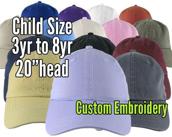 Child Size Custom Personalized Embroidery on a 15 Colors Selection of Adjustable Unstructured Baseball Caps Options Personalized Side + Back