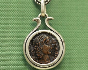 6282 Roman Bronze Coin Necklace