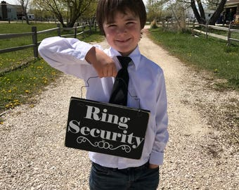 Ring Security Sign- Wood Wedding Sign - Ring Bearer Sign- Rustic Wedding Sign - Here comes the Bride - Wedding Sign for Kids
