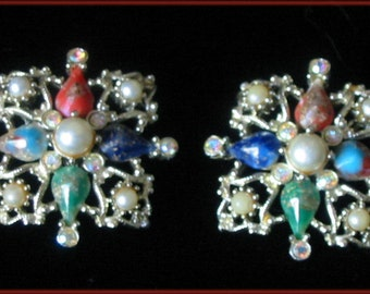 SARAH COVENTRY - Vintage 1960s - Pearl & stones clip earrings