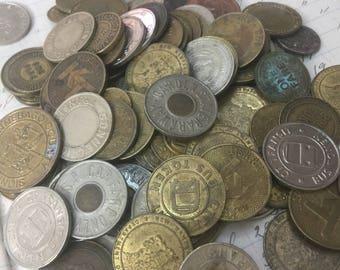 Set of 3 Tokens -vintage assortment transit tokens - bus fare token - subway token - token lot- vintage token