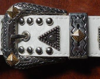 Vintage White Leather Western Bling Belt!