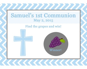 24 Personalized First Communion Scratch Off Game Cards   - Pink or Blue Available