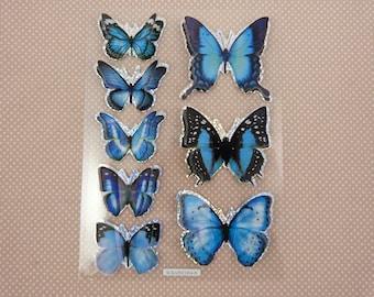 Sheet of stickers blue 3D butterflies
