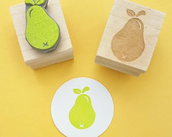 Small Pear Rubber Stamp - Pear Fruit Stamper - Baking Supplies - Gift for Baker - Present for Crafter - Gift for Foodie - Food