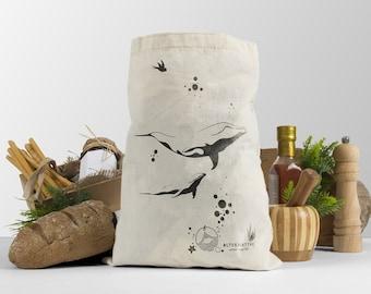 ALTskins I-kit of 6 ocean/whales love screen printed zero waste market canvas bags for veggies & fruits /naturalALTERNATIVEs to plastic bag