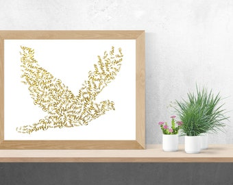 Gold Glitter Peace Dove Print, Digital Download, Digital, Wedding, Wall Décor, Printable Art, Instant Download, Wall Art, Printable Download