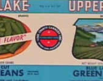 1950S Upper Lake CA Vintage Can Green Beans Labels Kitchen Art Lot