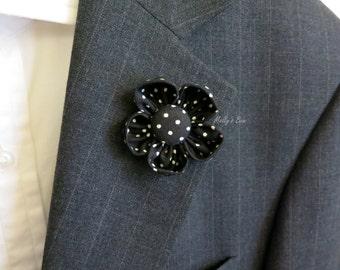 Buttercup Lapel Flower - Men's Boutonniere - Lapel Pin - Buttonhole - Flower Brooch - Black Polka