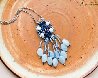 Beaded fringe macrame necklace, micro-macrame jewelry, bohemian, boho, elegant, beadwork, long, tassel, navy blue gray white, glass, floral