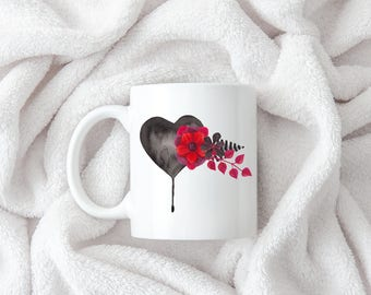 Dark Heart Coffee Mug 11oz 15oz  Gift for Her Mom Cute Black Heart Watercolor Gothic Red Flowers Anti Valentine Fern Leaves Dripping Chic