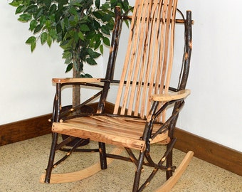 Rustic Hickory 9-Slat Rocking Chair