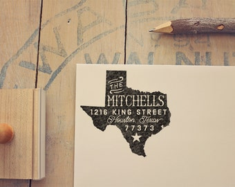 Texas Return Address State Stamp, Personalized Rubber Stamp