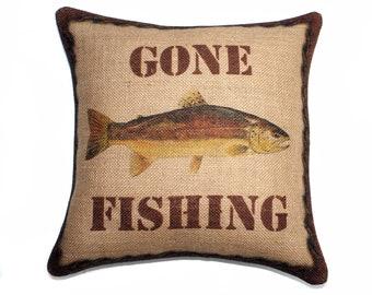 Trout Burlap Pillow Gone Fishing