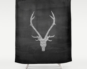 Shower Curtain, Rustic Home Decor, Deer Antler Decor, Boys Shower Curtain, Mens Gift, Gifts for Boyfriend, Housewarming Gift, Black, Red