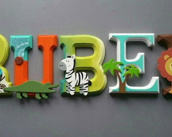 room baby, nursery, letter wall / Wood letters / colorful, white, aqua / orange / green / wall letters / baby shower gift
