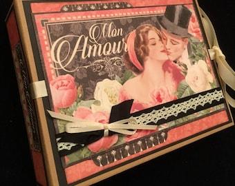 Love Mini Album, Valentine Scrapbook Album, Engagement Album, Vintage Style Mini Album, Mon Amour, Wedding Mini Album, PREMIUM Mini Album