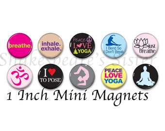 Yoga Magnets - Refrigerator Magnets - Set of 10 Mini Magnets - 1 Inch Magnets