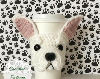 Bulldog Pattern, Mug Cozy Pattern, Fun Crochet Pattern, Crochet Dog, Amigurumi Dog, Dog Crochet Pattern, Trending Crochet, Crochet Gift Idea