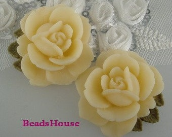 20%off  638-00-CA 4pcs High Quality Vintage Style Rose Cabochon-Pale Ivory