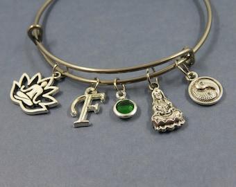 Silver theme Bangle bangle bracelet zen yoga Buddha lotus letter alphabet initial birthstone