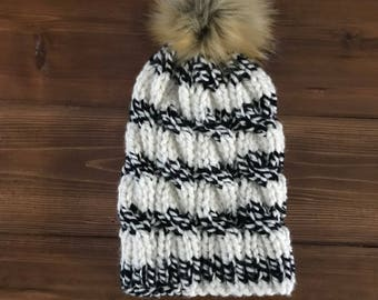 Adult Black and White Cable Toque