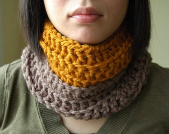 Warm Cowl in Butterscotch and Taupe