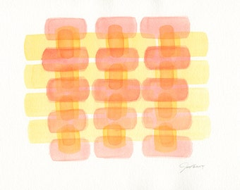 Modern Abstract Art, Original Watercolor Painting, Minimalist Art, Yellow, Red