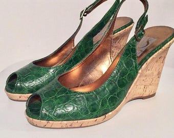 Vintage Green Slingback Wedge Peeptoe Heels / Excellent Condition / Size 8