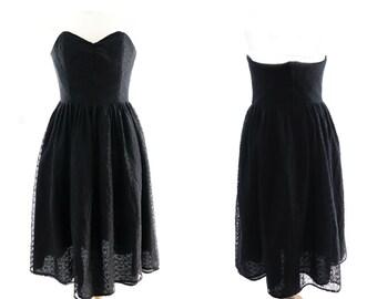 Vintage black strapless dress, mechanical lace, medium