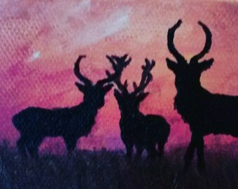 A gathering of Stags greeting card from original painting by Jodeen Betton.