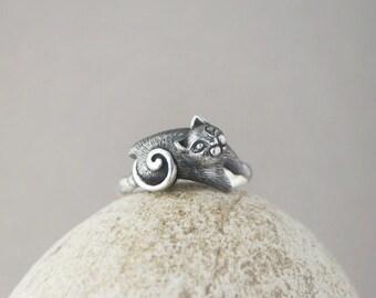 Cat Ring, Cat Jewelry, Animal Ring, Handmade