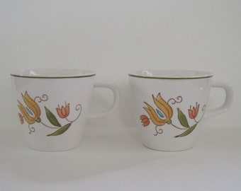 Vintage Mikasa Provincial Floral Cups - set of two
