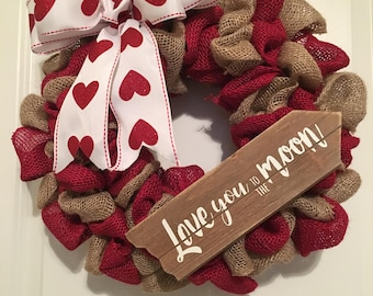 Valentine's Day Wreath, Valentine Wreath, Valentines Wreath, Burlap Wreath, Winter Wreath, Heart Wreath, Red Burlap Wreath, Red Wreath