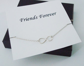 Infinity Sterling Silver Necklace ~~Personalized Jewelry Gift Card for Friend, Best Friend, Sister, Sister in Law, Step Sister, Bridal Party
