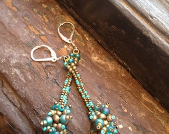 Earrings: festive turquoise and gold beadwoven