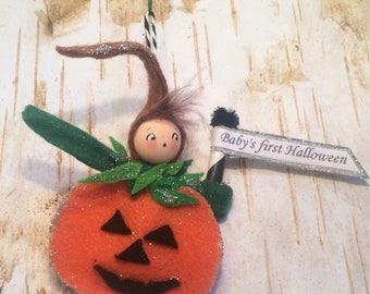 Babys first halloween doll ornament pumpkin ornament halloween ornament vintage retro inspired jack o lantern