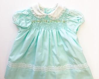 Vintage Polly Flinders Baby Girl Smocked Dress Doll Dress