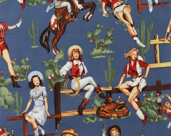 Alexander Henry Fabric - From The Hip - Retro Pin Up Cowgirls - Vintage Blue - Novelty Fabric-Choose Your Cut 1/2 or Full Yard