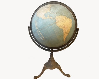 Stunning 18 Inch Terrestrial World Globe - Circa 1913 -  W. & A.K. Johnston Limited - Art Nouveau Tripod Legs - Ornate Geography