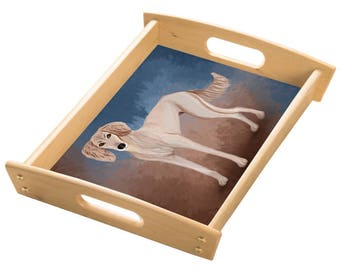 Saluki Puppy Wood Serving Tray with Handles Natural