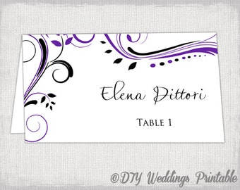 """Place card template Purple and Black """"Scroll"""" name cards -DIY wedding printable place card templates YOU EDIT Word instant download"""