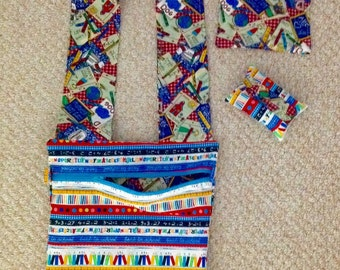 Teacher bag with matching tissue cover and two mug rugs for your desk.