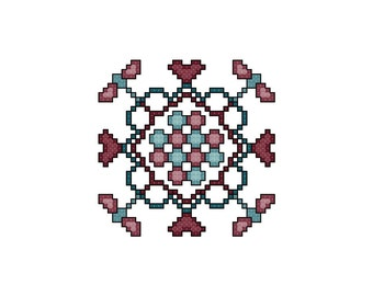 Dragonflies, Hearts and Circles Quilt Square Cross Stitch Pattern PDF Digital Download